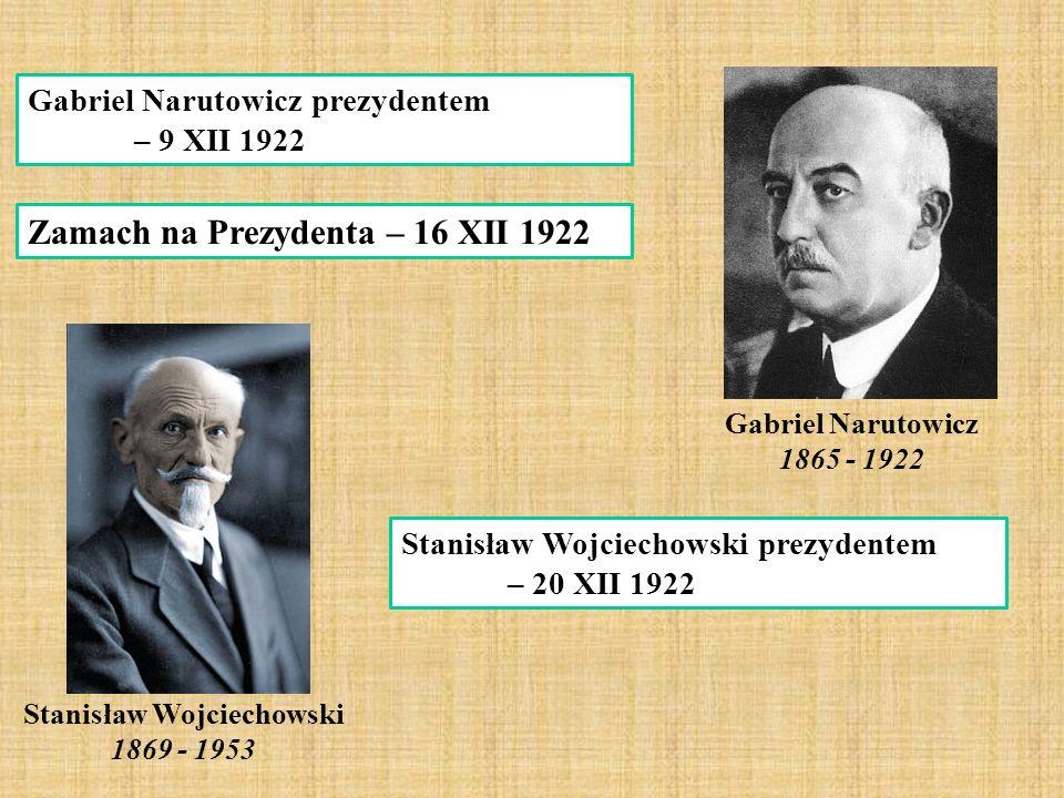 Gabriel Narutowicz prezydentem – 9 XII 1922 Gabriel Narutowicz 1865 - 1922 Zamach na Prezydenta – 16 XII 1922 Stanisław Wojciechowski prezydentem – 20 XII 1922 Stanisław Wojciechowski 1869 - 1953