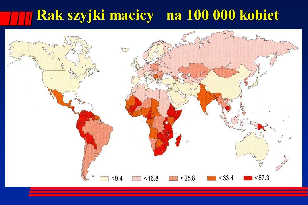 Rak szyjki macicy na 100 000 kobiet