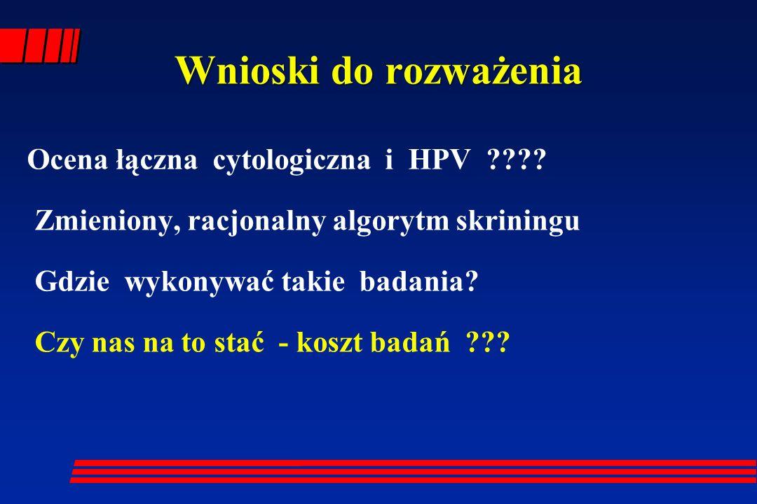 Wnioski do rozważenia Ocena łączna cytologiczna i HPV ???? Zmieniony, racjonalny algorytm skriningu Gdzie wykonywać takie badania? Czy nas na to stać