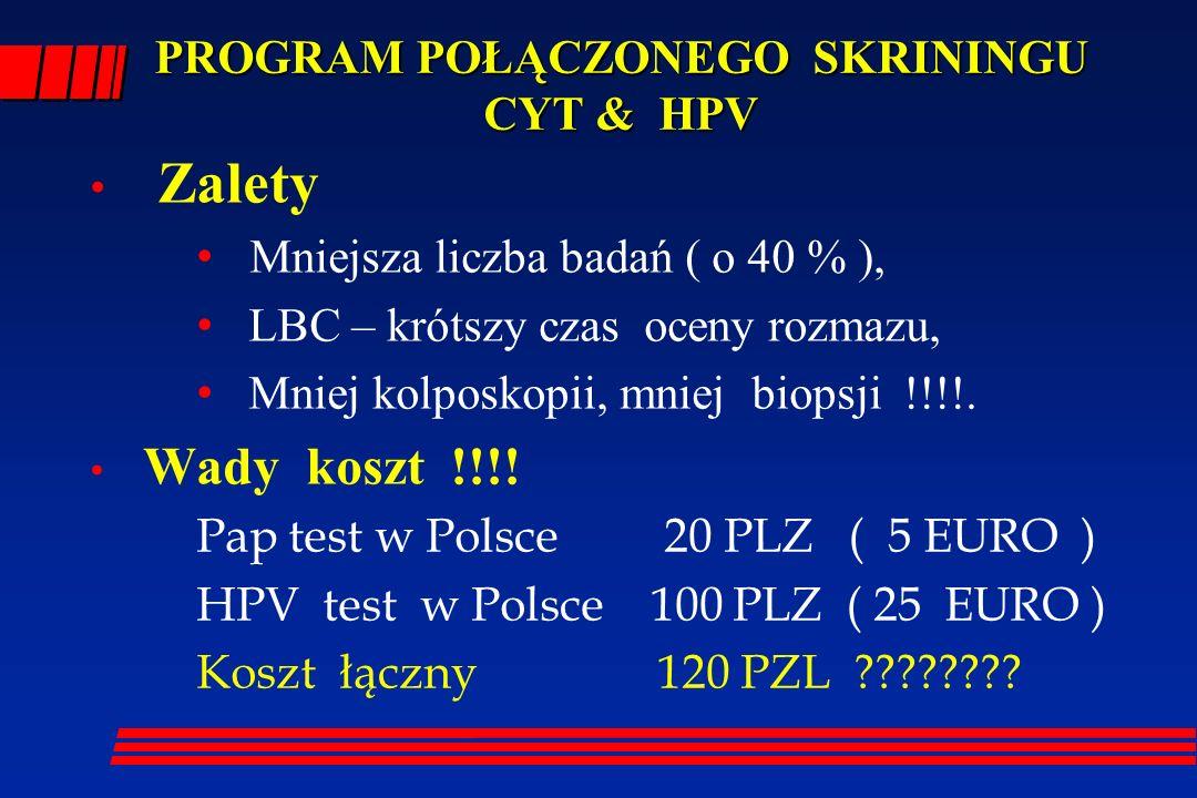 PROGRAM POŁĄCZONEGO SKRININGU CYT & HPV Zalety Mniejsza liczba badań ( o 40 % ), LBC – krótszy czas oceny rozmazu, Mniej kolposkopii, mniej biopsji !!