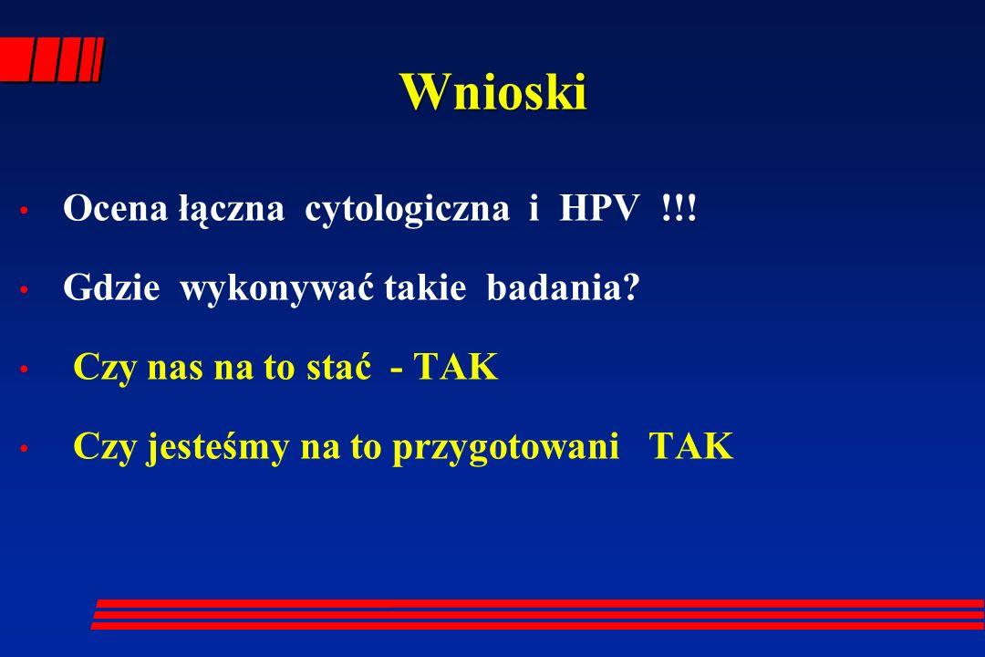 Wnioski Ocena łączna cytologiczna i HPV !!! Gdzie wykonywać takie badania? Czy nas na to stać - TAK Czy jesteśmy na to przygotowani TAK