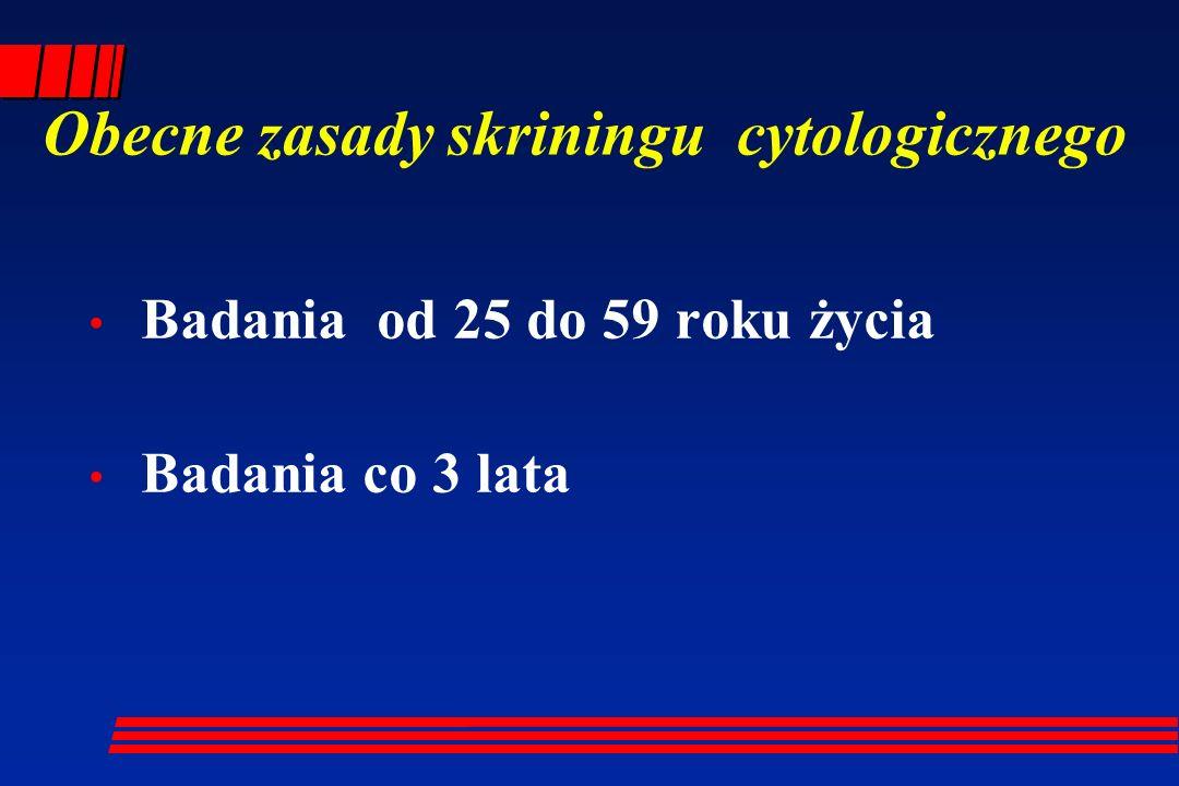 Obecne zasady skriningu cytologicznego Badania od 25 do 59 roku życia Badania co 3 lata
