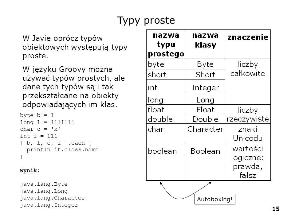 15 Typy proste W Javie oprócz typów obiektowych występują typy proste. W języku Groovy można używać typów prostych, ale dane tych typów są i tak przek