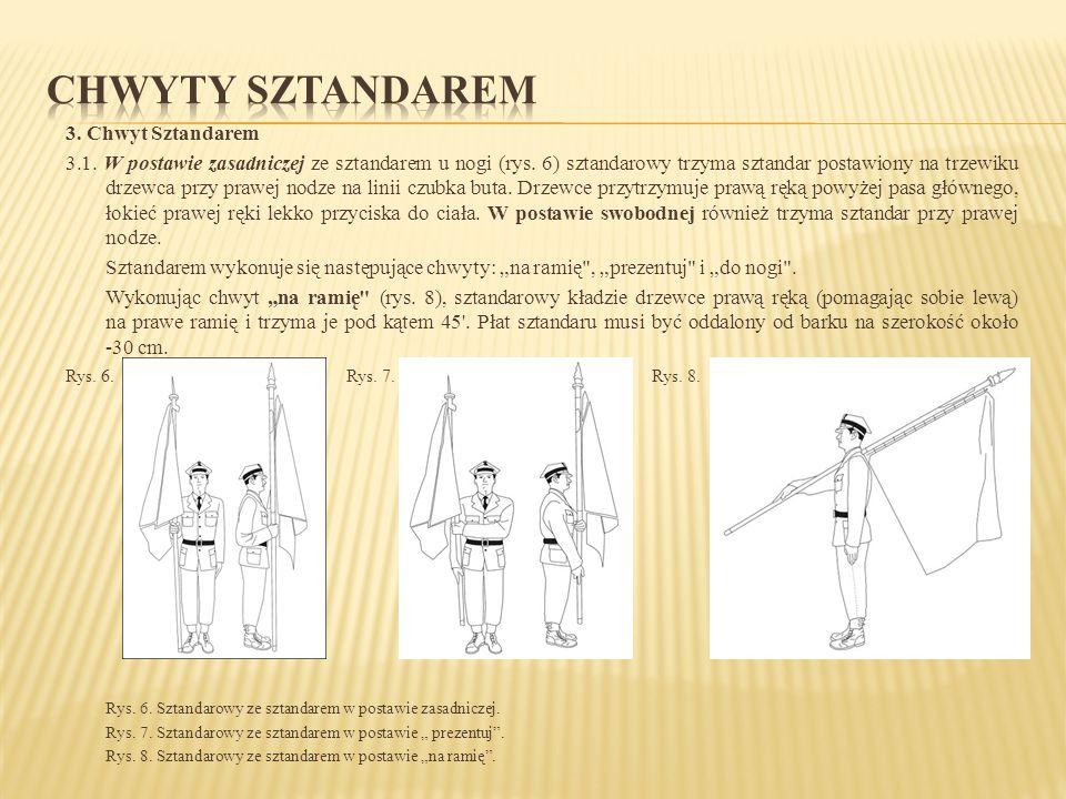 3. Chwyt Sztandarem 3.1. W postawie zasadniczej ze sztandarem u nogi (rys. 6) sztandarowy trzyma sztandar postawiony na trzewiku drzewca przy prawej n