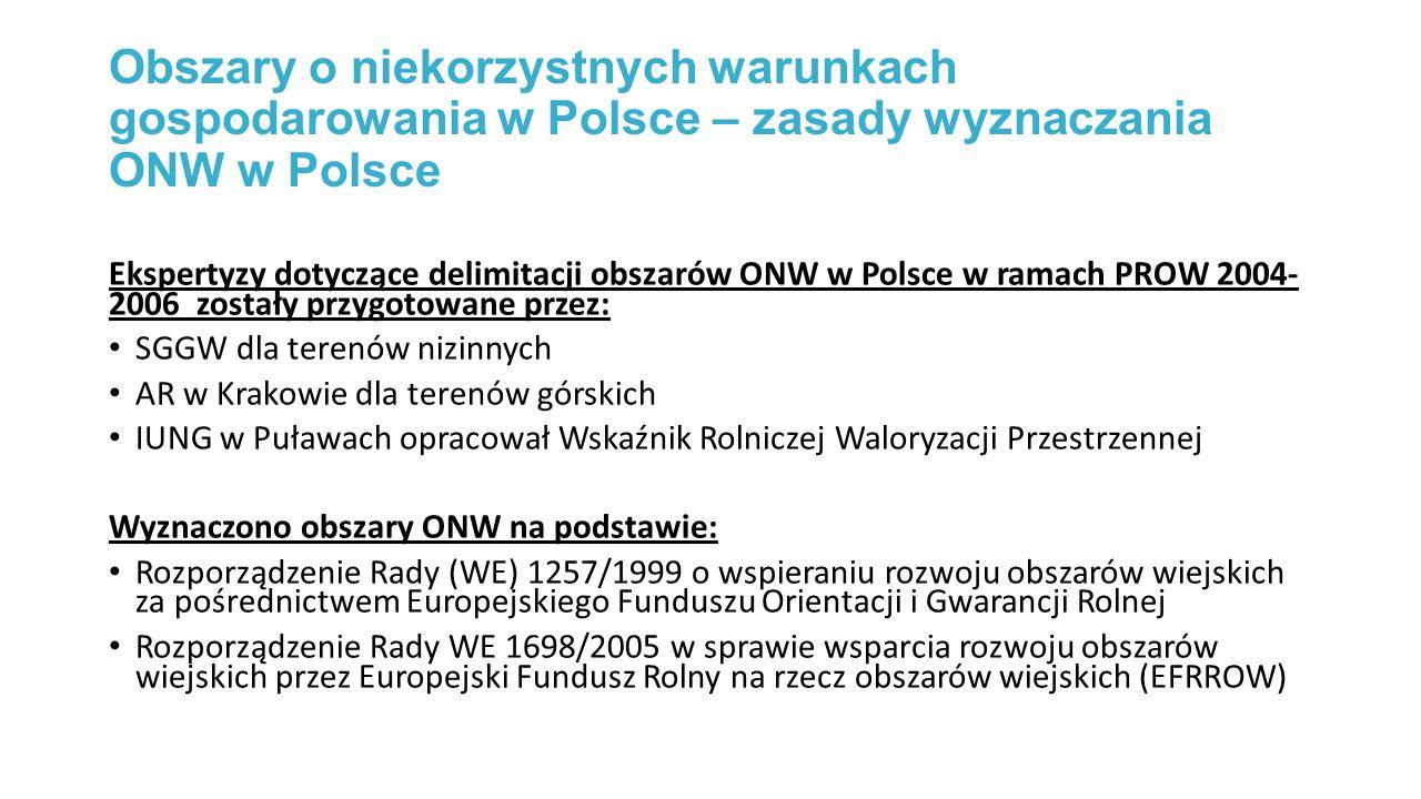 Obszary o niekorzystnych warunkach gospodarowania w Polsce – zasady wyznaczania ONW w Polsce Ekspertyzy dotyczące delimitacji obszarów ONW w Polsce w ramach PROW 2004- 2006 zostały przygotowane przez: SGGW dla terenów nizinnych AR w Krakowie dla terenów górskich IUNG w Puławach opracował Wskaźnik Rolniczej Waloryzacji Przestrzennej Wyznaczono obszary ONW na podstawie: Rozporządzenie Rady (WE) 1257/1999 o wspieraniu rozwoju obszarów wiejskich za pośrednictwem Europejskiego Funduszu Orientacji i Gwarancji Rolnej Rozporządzenie Rady WE 1698/2005 w sprawie wsparcia rozwoju obszarów wiejskich przez Europejski Fundusz Rolny na rzecz obszarów wiejskich (EFRROW)