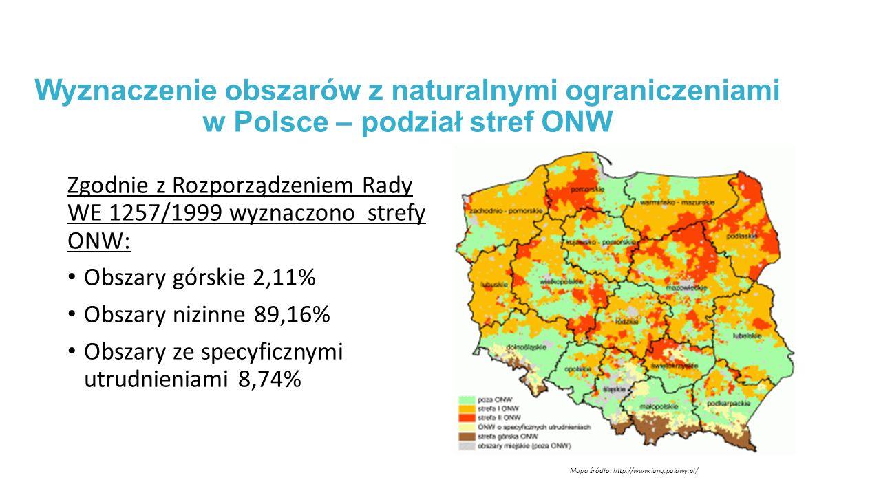 Wyznaczenie obszarów z naturalnymi ograniczeniami w Polsce – podział stref ONW Zgodnie z Rozporządzeniem Rady WE 1257/1999 wyznaczono strefy ONW: Obszary górskie 2,11% Obszary nizinne 89,16% Obszary ze specyficznymi utrudnieniami 8,74% Mapa źródło: http://www.iung.pulawy.pl/