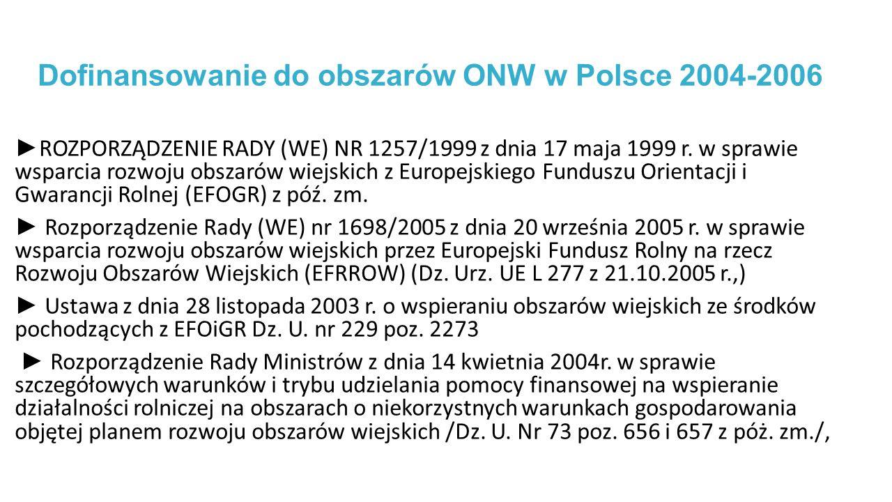 Dofinansowanie do obszarów ONW w Polsce 2004-2006 ► ROZPORZĄDZENIE RADY (WE) NR 1257/1999 z dnia 17 maja 1999 r.