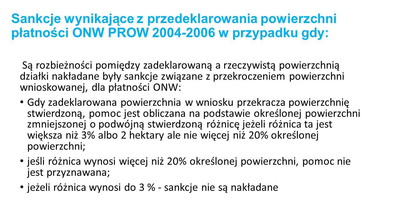 Sankcje wynikające z przedeklarowania powierzchni płatności ONW PROW 2004-2006 w przypadku gdy: Są rozbieżności pomiędzy zadeklarowaną a rzeczywistą powierzchnią działki nakładane były sankcje związane z przekroczeniem powierzchni wnioskowanej, dla płatności ONW: Gdy zadeklarowana powierzchnia w wniosku przekracza powierzchnię stwierdzoną, pomoc jest obliczana na podstawie określonej powierzchni zmniejszonej o podwójną stwierdzoną różnicę jeżeli różnica ta jest większa niż 3% albo 2 hektary ale nie więcej niż 20% określonej powierzchni; jeśli różnica wynosi więcej niż 20% określonej powierzchni, pomoc nie jest przyznawana; jeżeli różnica wynosi do 3 % - sankcje nie są nakładane