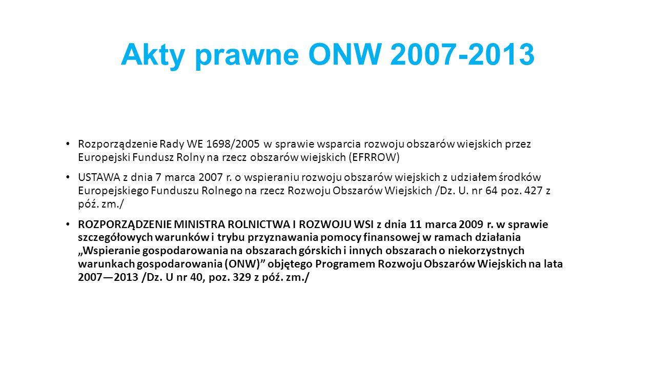 Akty prawne ONW 2007-2013 Rozporządzenie Rady WE 1698/2005 w sprawie wsparcia rozwoju obszarów wiejskich przez Europejski Fundusz Rolny na rzecz obszarów wiejskich (EFRROW) USTAWA z dnia 7 marca 2007 r.