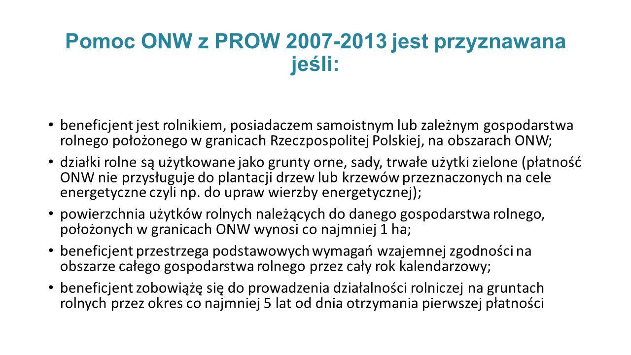 Pomoc ONW z PROW 2007-2013 jest przyznawana jeśli: beneficjent jest rolnikiem, posiadaczem samoistnym lub zależnym gospodarstwa rolnego położonego w granicach Rzeczpospolitej Polskiej, na obszarach ONW; działki rolne są użytkowane jako grunty orne, sady, trwałe użytki zielone (płatność ONW nie przysługuje do plantacji drzew lub krzewów przeznaczonych na cele energetyczne czyli np.