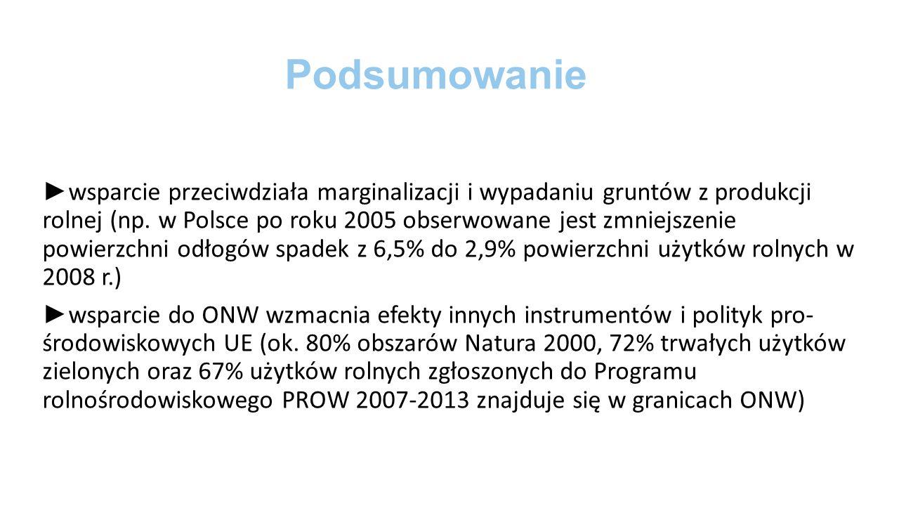 Podsumowanie ► wsparcie przeciwdziała marginalizacji i wypadaniu gruntów z produkcji rolnej (np.
