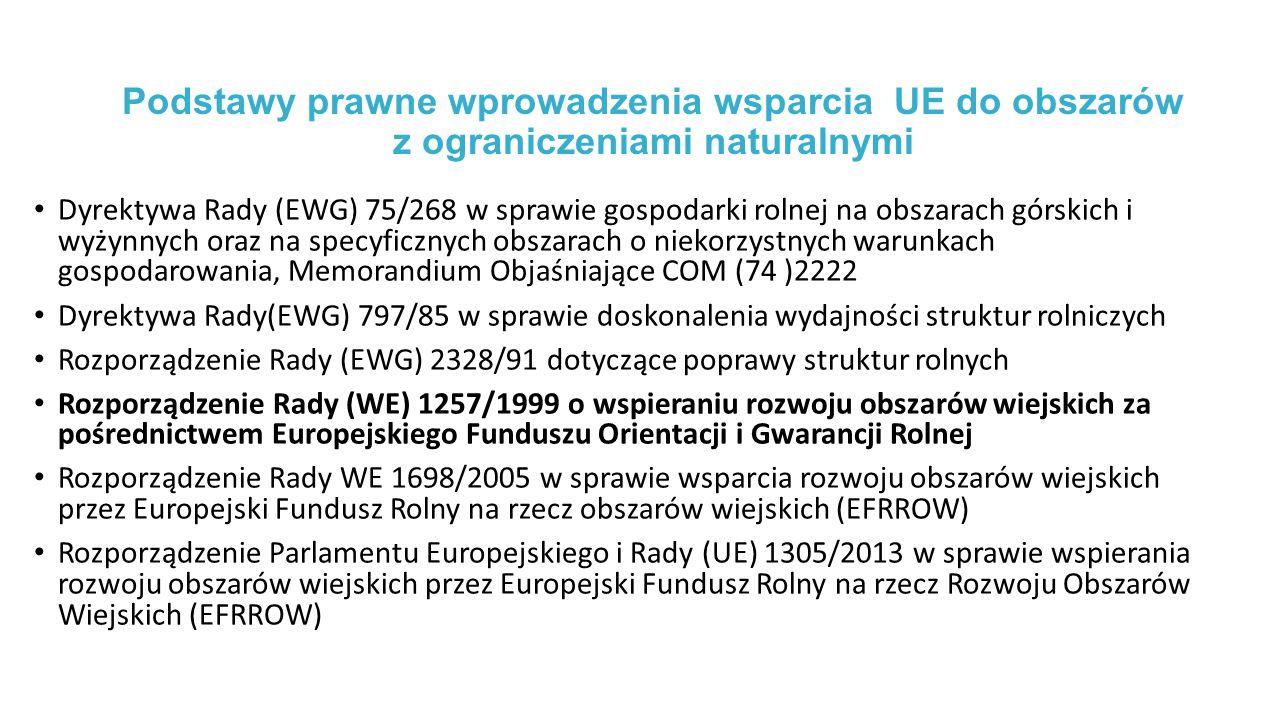 Podstawy prawne wprowadzenia wsparcia UE do obszarów z ograniczeniami naturalnymi Dyrektywa Rady (EWG) 75/268 w sprawie gospodarki rolnej na obszarach górskich i wyżynnych oraz na specyficznych obszarach o niekorzystnych warunkach gospodarowania, Memorandium Objaśniające COM (74 )2222 Dyrektywa Rady(EWG) 797/85 w sprawie doskonalenia wydajności struktur rolniczych Rozporządzenie Rady (EWG) 2328/91 dotyczące poprawy struktur rolnych Rozporządzenie Rady (WE) 1257/1999 o wspieraniu rozwoju obszarów wiejskich za pośrednictwem Europejskiego Funduszu Orientacji i Gwarancji Rolnej Rozporządzenie Rady WE 1698/2005 w sprawie wsparcia rozwoju obszarów wiejskich przez Europejski Fundusz Rolny na rzecz obszarów wiejskich (EFRROW) Rozporządzenie Parlamentu Europejskiego i Rady (UE) 1305/2013 w sprawie wspierania rozwoju obszarów wiejskich przez Europejski Fundusz Rolny na rzecz Rozwoju Obszarów Wiejskich (EFRROW)