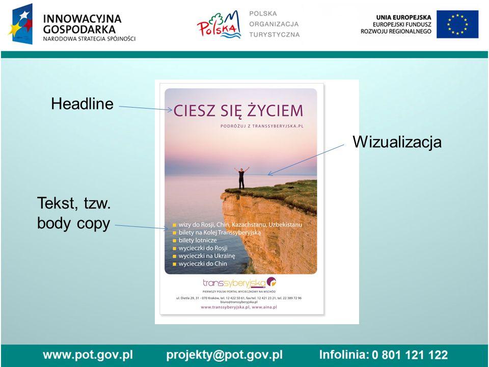 Headline Wizualizacja Tekst, tzw. body copy