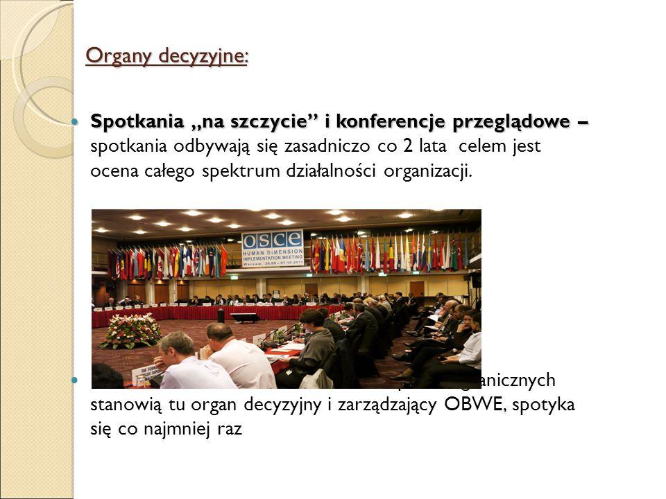 Organy decyzyjne: Spotkania na szczycie i konferencje przeglądowe – Spotkania na szczycie i konferencje przeglądowe – spotkania odbywają się zasadnicz