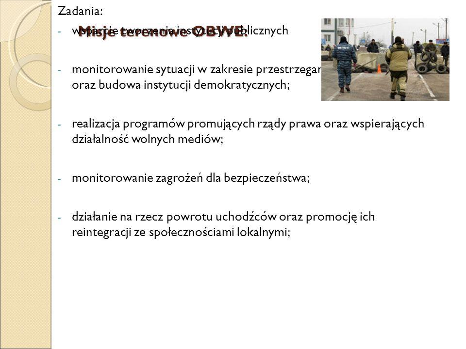 Misje terenowe OBWE: Zadania: - wsparcie tworzenia instytucji publicznych - monitorowanie sytuacji w zakresie przestrzegania praw człowieka oraz budow
