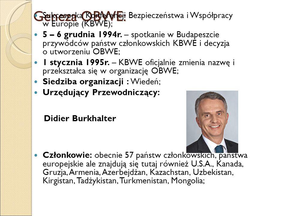 Geneza OBWE: Sukcesorka Konferencji Bezpieczeństwa i Współpracy w Europie (KBWE); 5 – 6 grudnia 1994r. – spotkanie w Budapeszcie przywódców państw czł