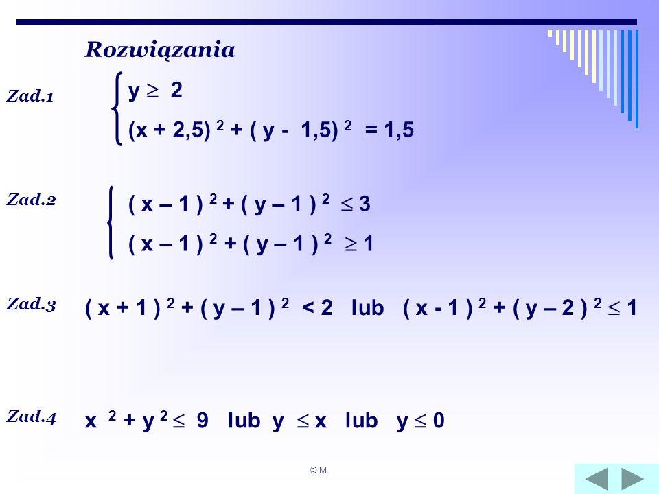 Rozwiązania Zad.1 y 2 (x + 2,5) 2 + ( y - 1,5) 2 = 1,5 Zad.2 Zad.3 Zad.4 ( x – 1 ) 2 + ( y – 1 ) 2 3 ( x – 1 ) 2 + ( y – 1 ) 2 1 ( x + 1 ) 2 + ( y – 1
