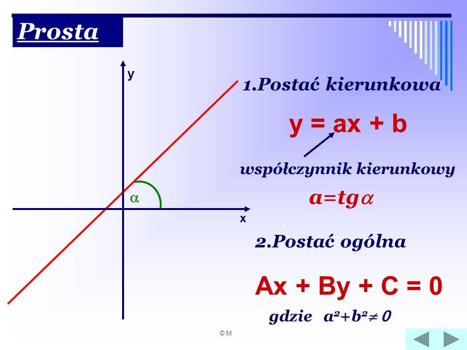 Prosta x y 1.Postać kierunkowa y = ax + b współczynnik kierunkowy a=tg 2.Postać ogólna Ax + By + C = 0 gdzie a 2 +b 2 0 © M