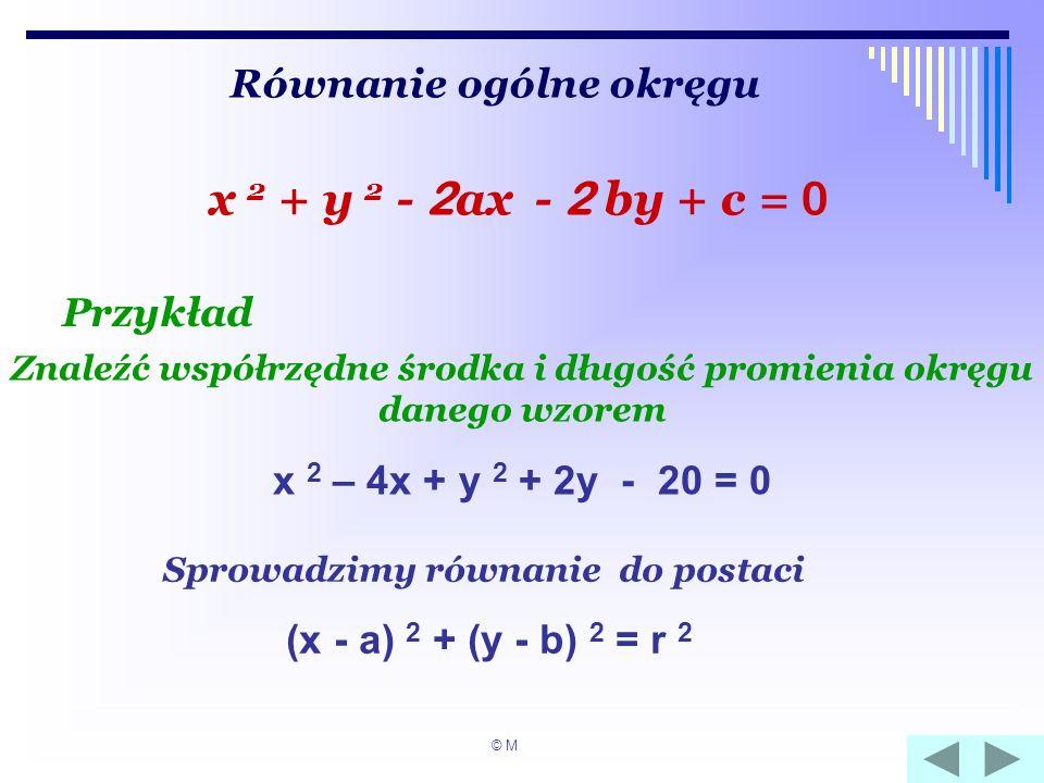 Równanie ogólne okręgu x 2 + y 2 - 2 ax - 2 by + c = 0 Przykład Znaleźć współrzędne środka i długość promienia okręgu danego wzorem x 2 – 4x + y 2 + 2