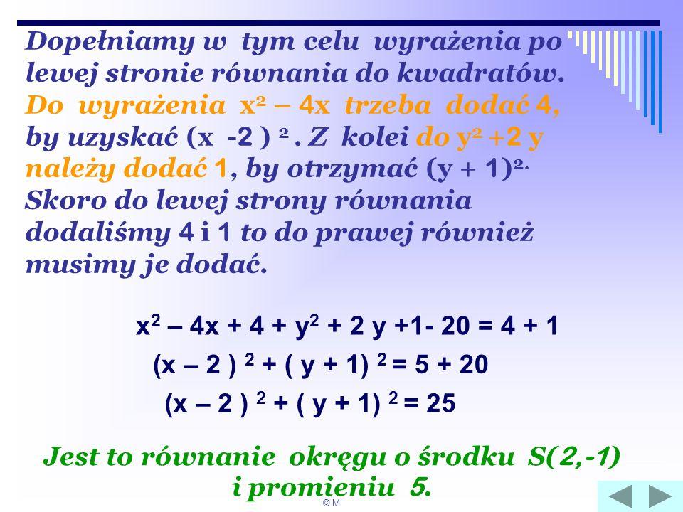 Dopełniamy w tym celu wyrażenia po lewej stronie równania do kwadratów. Do wyrażenia x 2 – 4 x trzeba dodać 4, by uzyskać (x - 2 ) 2. Z kolei do y 2 +