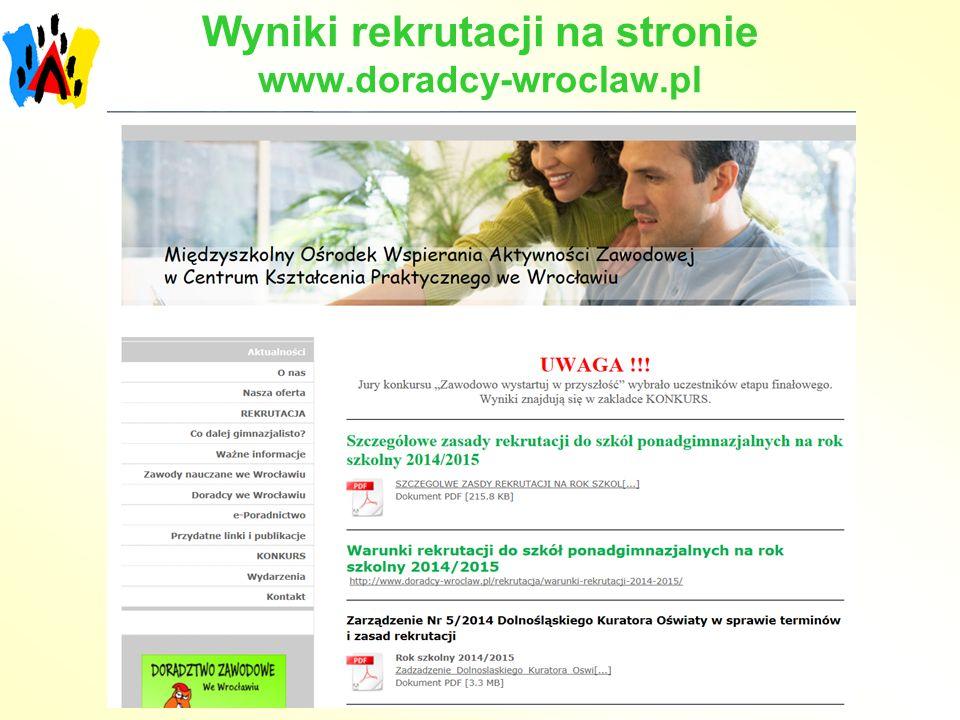 Wyniki rekrutacji na stronie www.doradcy-wroclaw.pl