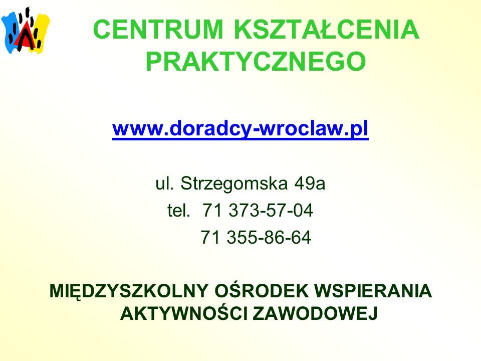 CENTRUM KSZTAŁCENIA PRAKTYCZNEGO www.doradcy-wroclaw.pl ul. Strzegomska 49a tel. 71 373-57-04 71 355-86-64 MIĘDZYSZKOLNY OŚRODEK WSPIERANIA AKTYWNOŚCI