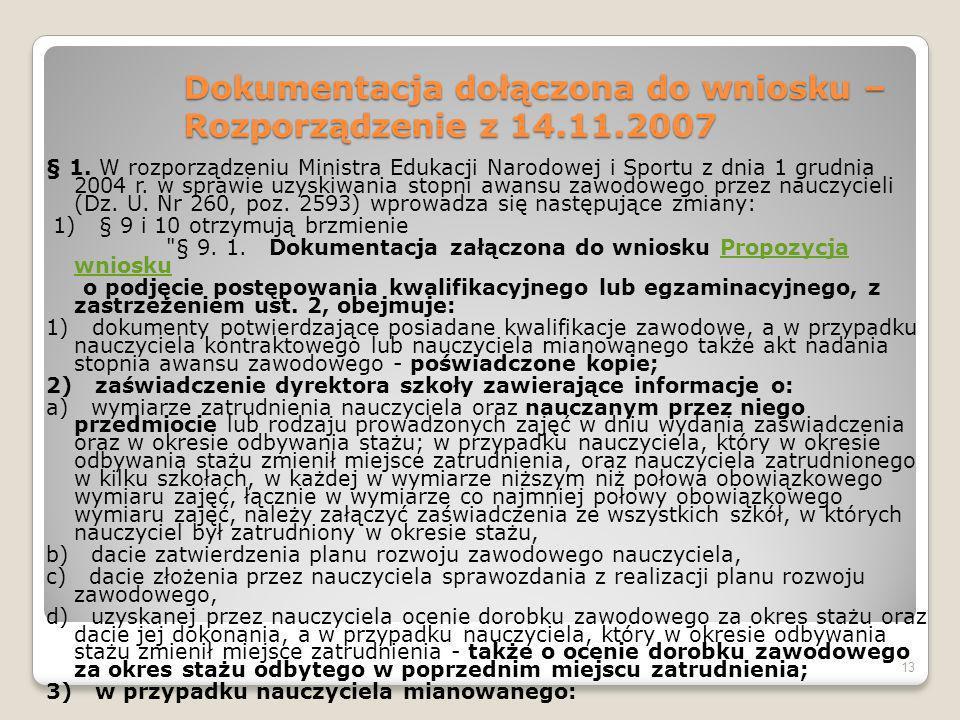 Dokumentacja dołączona do wniosku – Rozporządzenie z 14.11.2007 § 1.