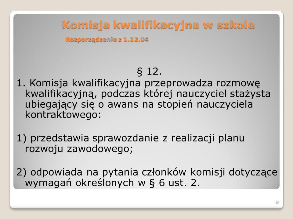 Komisja kwalifikacyjna w szkole Rozporządzenie z 1.12.04 § 12.