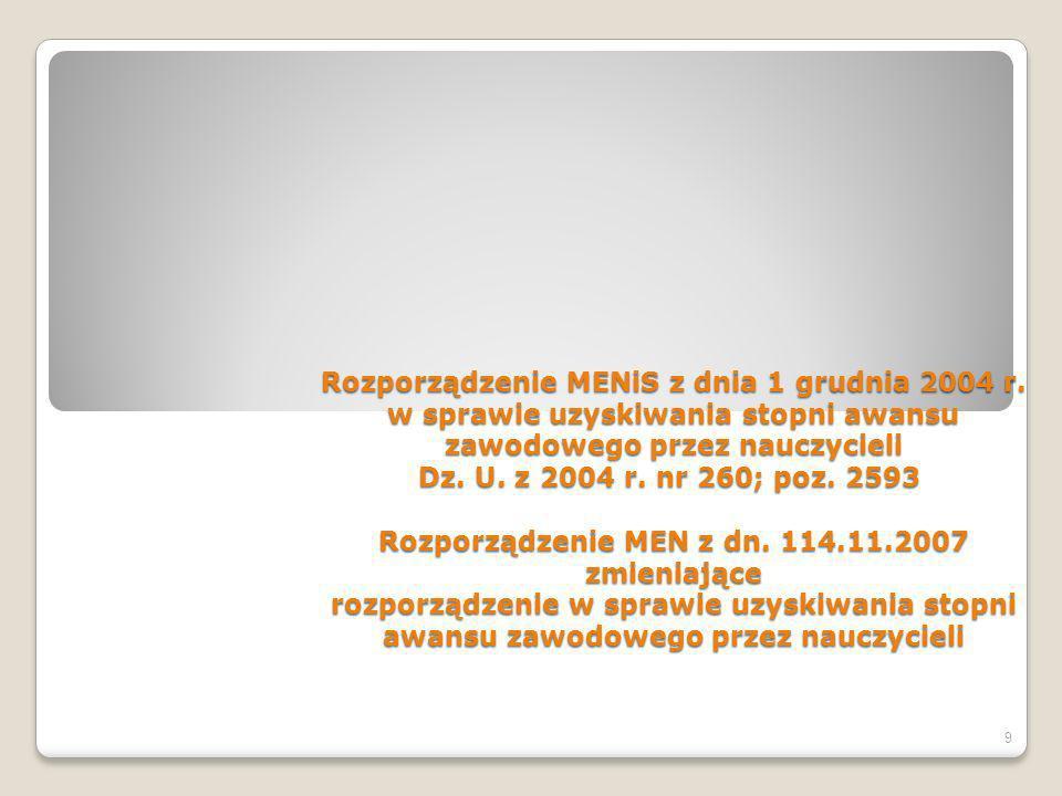 Rozporządzenie MENiS z dnia 1 grudnia 2004 r.