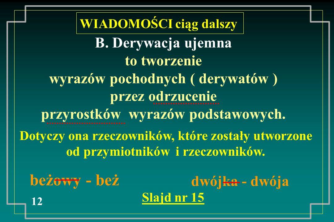 B. Derywacja ujemna to tworzenie wyrazów pochodnych ( derywatów ) przez odrzucenie przyrostków wyrazów podstawowych. 12 WIADOMOŚCI ciąg dalszy Dotyczy