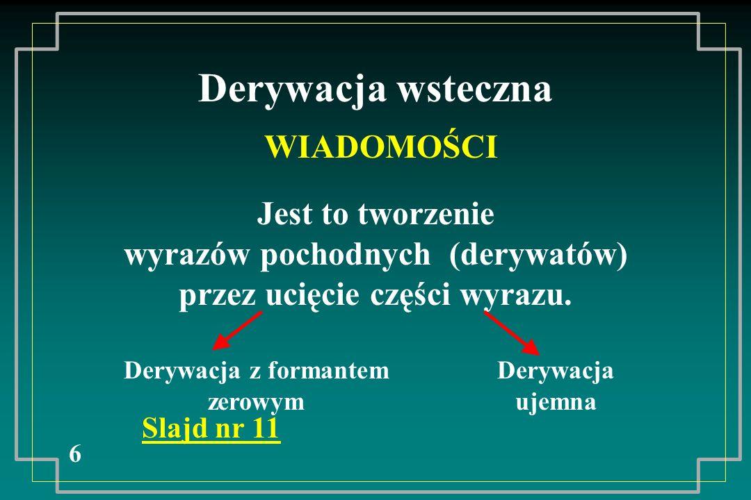 Derywacja wsteczna 6 WIADOMOŚCI Jest to tworzenie wyrazów pochodnych (derywatów) przez ucięcie części wyrazu. Slajd nr 11 Derywacja z formantem zerowy