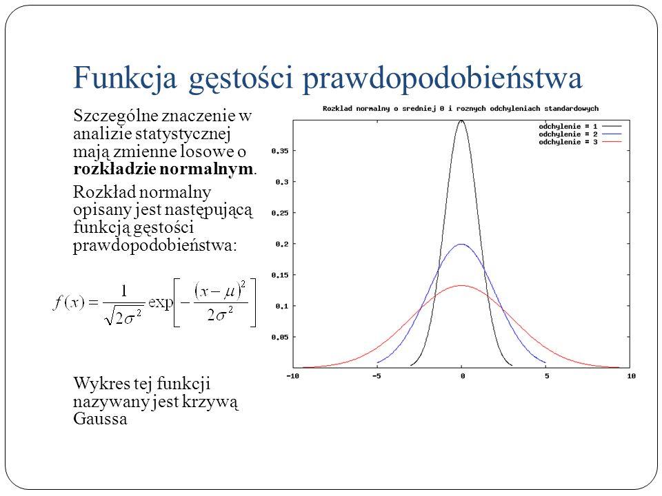 Szczególne znaczenie w analizie statystycznej mają zmienne losowe o rozkładzie normalnym. Rozkład normalny opisany jest następującą funkcją gęstości p
