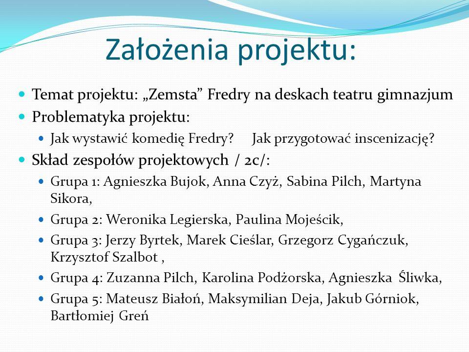 Założenia projektu: Temat projektu: Zemsta Fredry na deskach teatru gimnazjum Problematyka projektu: Jak wystawić komedię Fredry? Jak przygotować insc