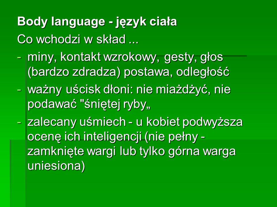 Body language - język ciała Co wchodzi w skład...