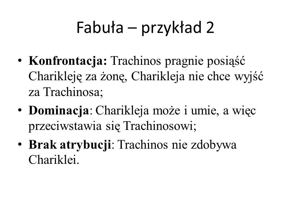 Fabuła – przykład 2 Konfrontacja: Trachinos pragnie posiąść Charikleję za żonę, Charikleja nie chce wyjść za Trachinosa; Dominacja: Charikleja może i