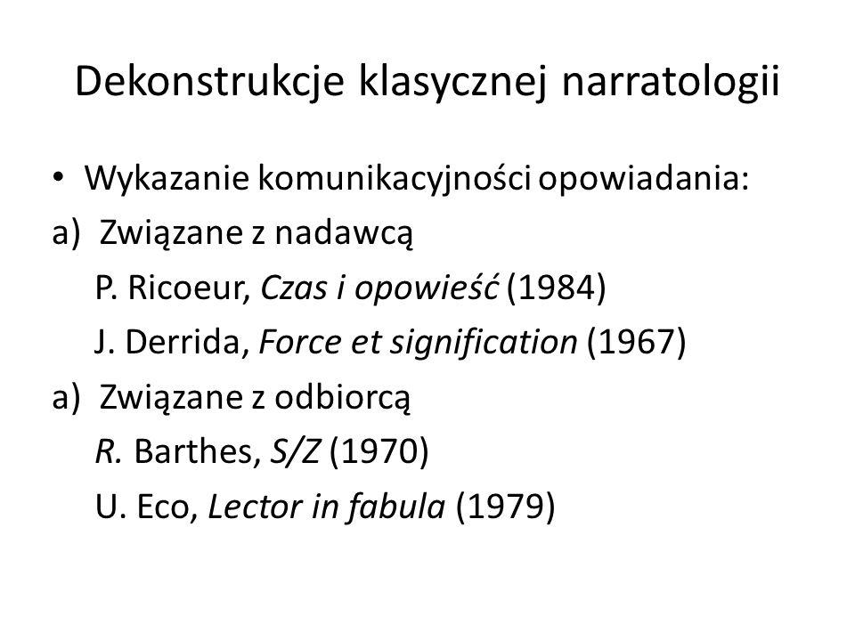 Dekonstrukcje klasycznej narratologii Wykazanie komunikacyjności opowiadania: a)Związane z nadawcą P. Ricoeur, Czas i opowieść (1984) J. Derrida, Forc