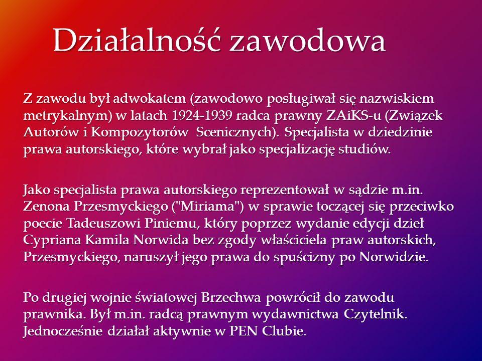 Z zawodu był adwokatem (zawodowo posługiwał się nazwiskiem metrykalnym) w latach 1924-1939 radca prawny ZAiKS-u (Związek Autorów i Kompozytorów Scenic