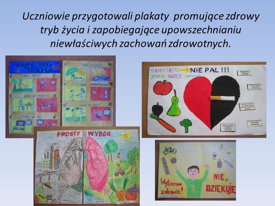 Uczniowie przygotowali plakaty promujące zdrowy tryb życia i zapobiegające upowszechnianiu niewłaściwych zachowań zdrowotnych.