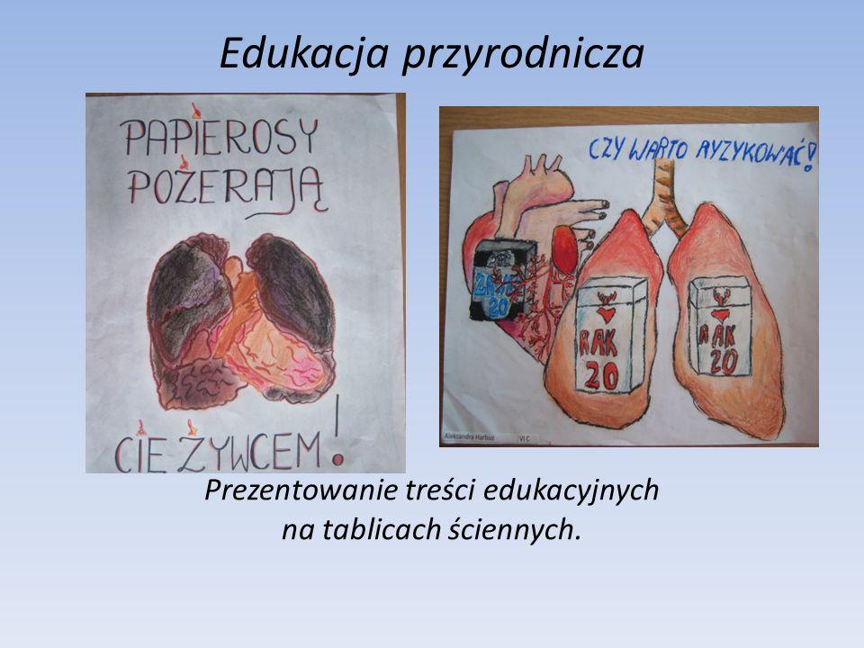 Edukacja przyrodnicza Prezentowanie treści edukacyjnych na tablicach ściennych.