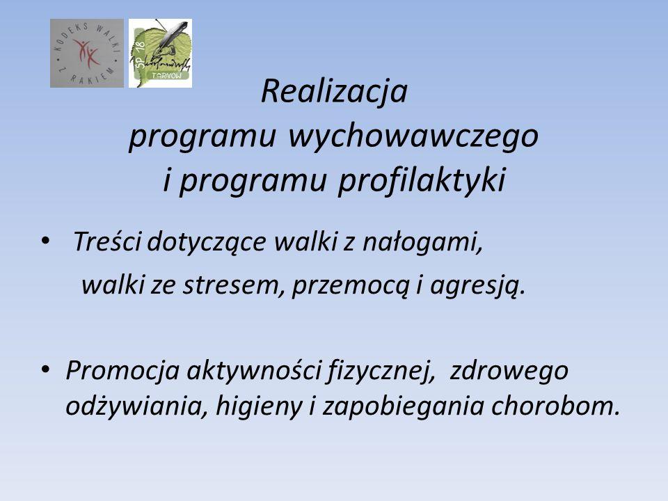 Realizacja programu wychowawczego i programu profilaktyki Treści dotyczące walki z nałogami, walki ze stresem, przemocą i agresją. Promocja aktywności