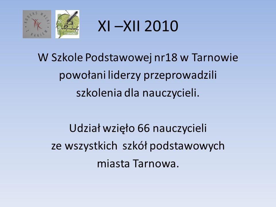 XI –XII 2010 W Szkole Podstawowej nr18 w Tarnowie powołani liderzy przeprowadzili szkolenia dla nauczycieli. Udział wzięło 66 nauczycieli ze wszystkic