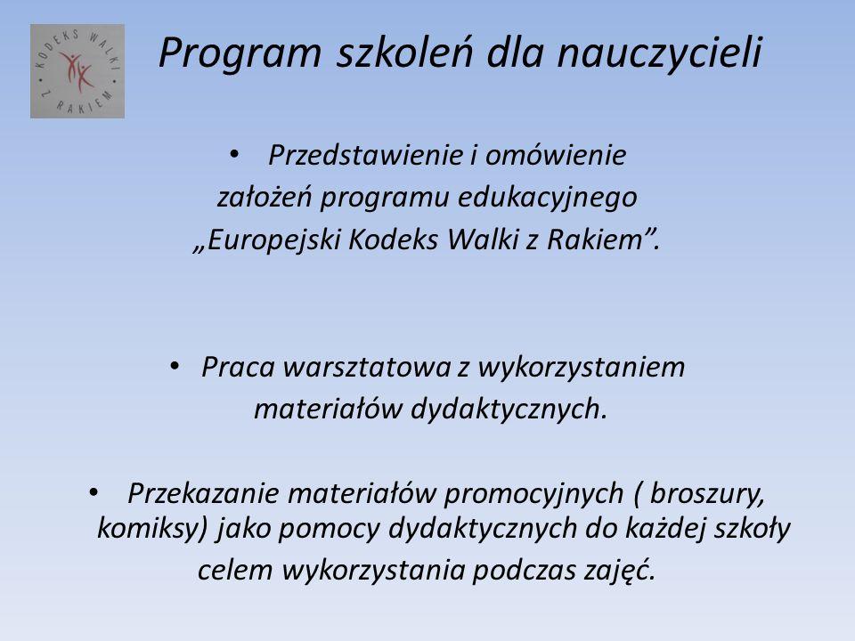 Program szkoleń dla nauczycieli Przedstawienie i omówienie założeń programu edukacyjnego Europejski Kodeks Walki z Rakiem. Praca warsztatowa z wykorzy
