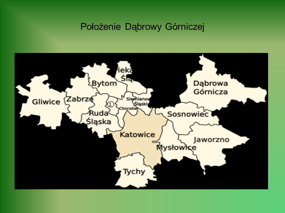 Położona na południu Polski, Dąbrowa Górnicza jest najbardziej rozległym pod względem powierzchni (liczy 188 km 2 ) miastem województwa śląskiego; to