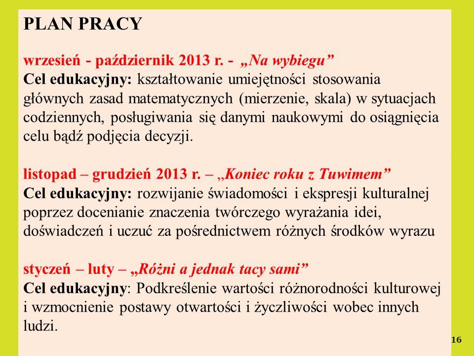 16 PLAN PRACY wrzesień - październik 2013 r. - Na wybiegu Cel edukacyjny: kształtowanie umiejętności stosowania głównych zasad matematycznych (mierzen