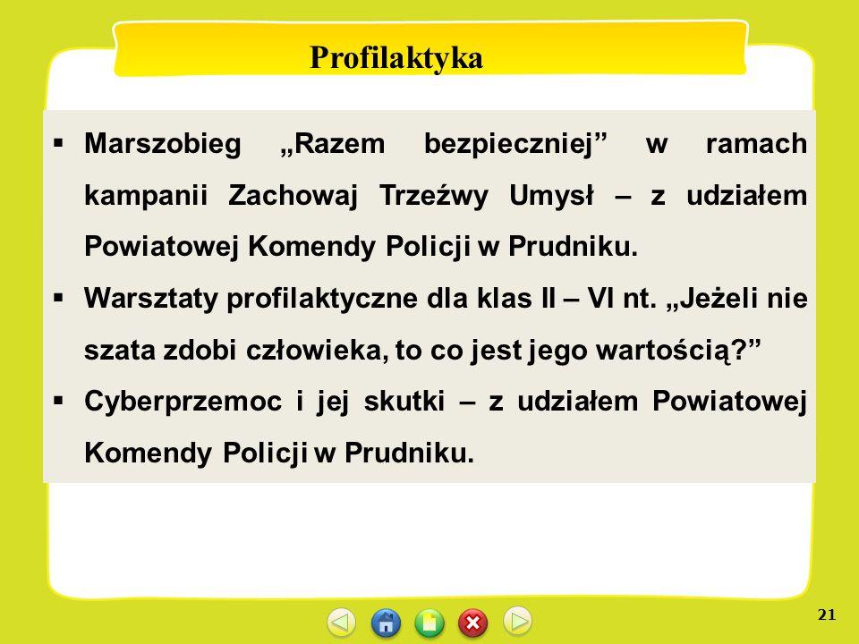 21 Profilaktyka Marszobieg Razem bezpieczniej w ramach kampanii Zachowaj Trzeźwy Umysł – z udziałem Powiatowej Komendy Policji w Prudniku. Warsztaty p