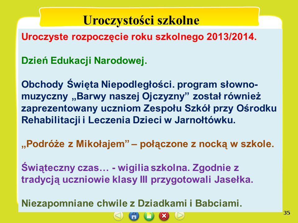 35 Uroczystości szkolne Uroczyste rozpoczęcie roku szkolnego 2013/2014. Dzień Edukacji Narodowej. Obchody Święta Niepodległości. program słowno- muzyc