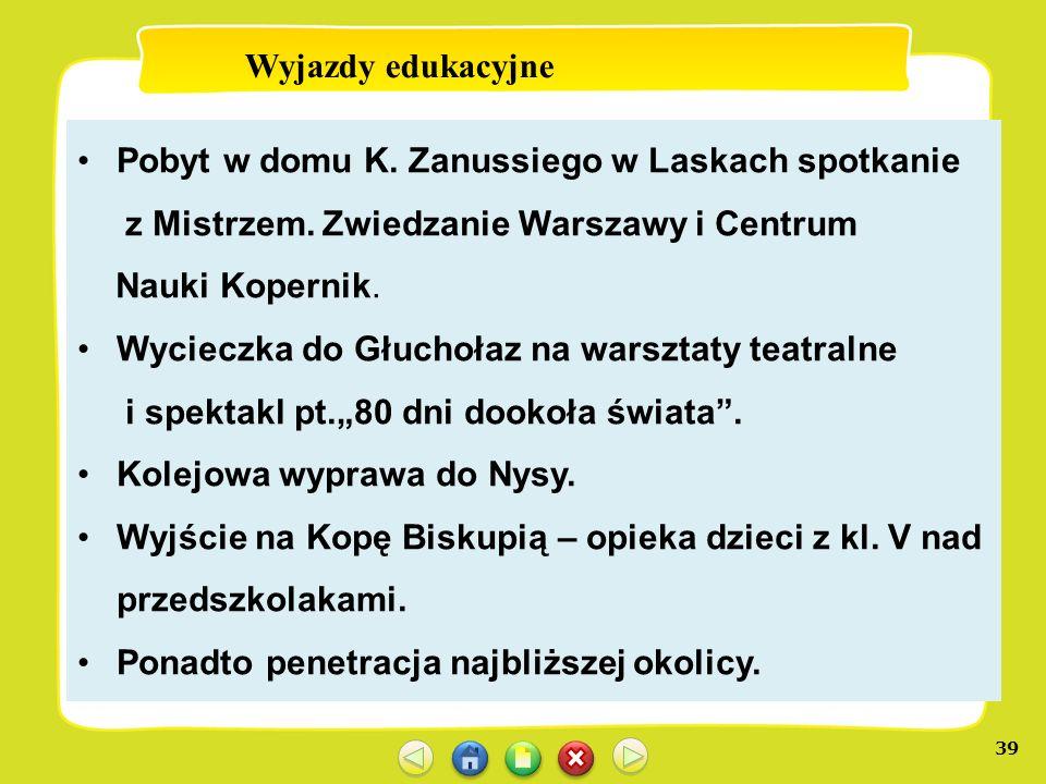 39 Wyjazdy edukacyjne Pobyt w domu K. Zanussiego w Laskach spotkanie z Mistrzem. Zwiedzanie Warszawy i Centrum Nauki Kopernik. Wycieczka do Głuchołaz