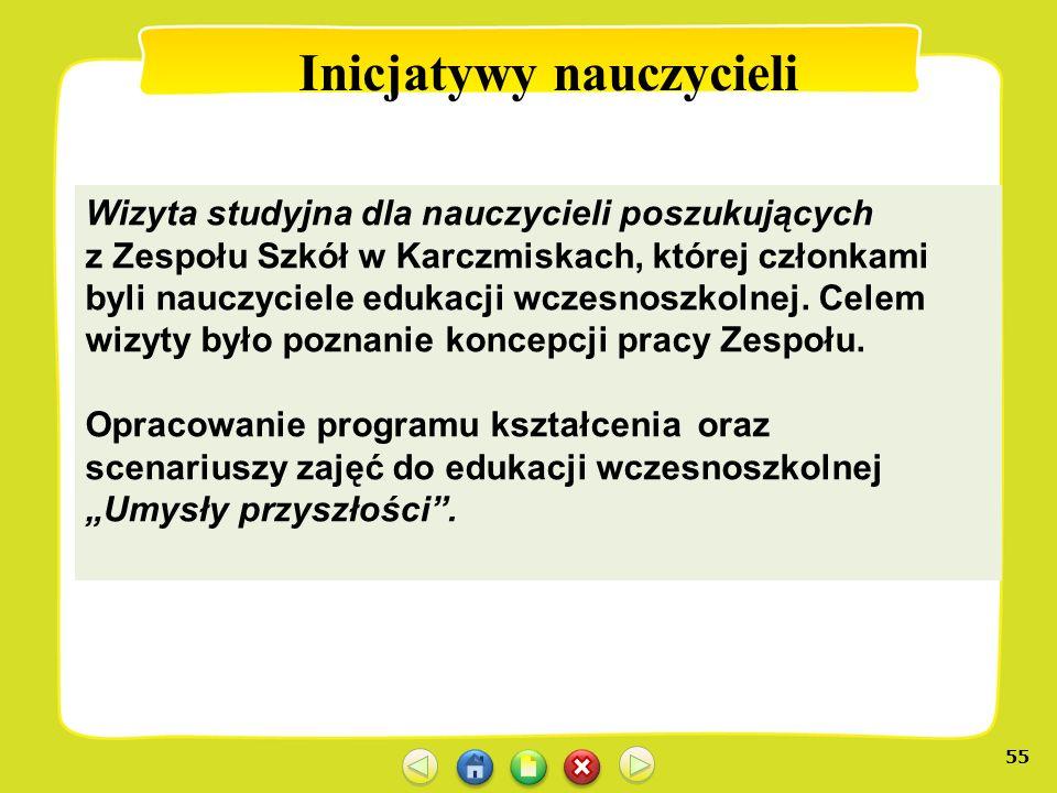 55 Inicjatywy nauczycieli Wizyta studyjna dla nauczycieli poszukujących z Zespołu Szkół w Karczmiskach, której członkami byli nauczyciele edukacji wcz