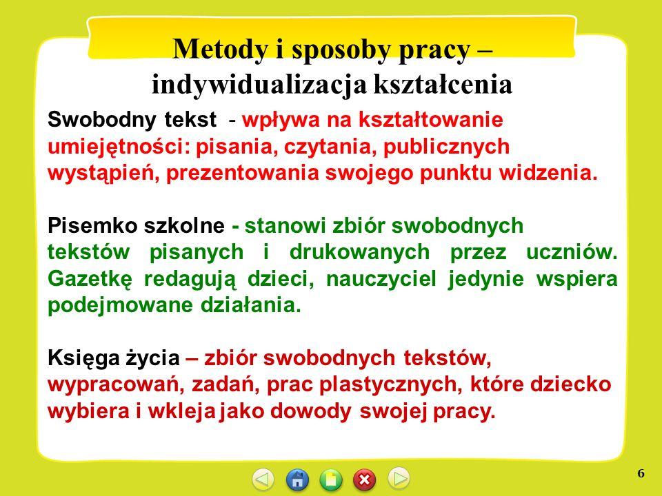 6 Metody i sposoby pracy – indywidualizacja kształcenia Swobodny tekst - wpływa na kształtowanie umiejętności: pisania, czytania, publicznych wystąpie