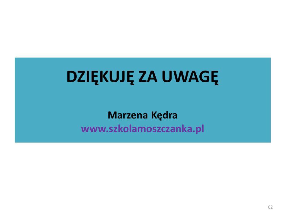62 DZIĘKUJĘ ZA UWAGĘ Marzena Kędra www.szkolamoszczanka.pl